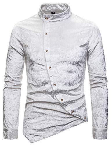 Bluse top uomo autunno elegante moda camicie bluse manica lunga collo coreana asimmetrica camicia maschi vestibilità regolare monocromo camicie bluse (bianco,xxl)