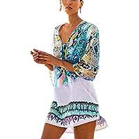 QIUYEJUO Womens Bathing Suit Swimwear Beach Cover up Bikini Coverups Swimsuit Shirt Dress Blue