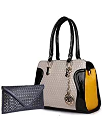 classic fashion Leather Handbag Combo for Women's (Black)