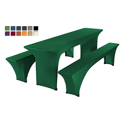 SCHEFFLER-HOME Paul Bierzelt-Garnitur 3tlg. Set für Tisch und Bänke Stretch-Hussen 50x220 cm, Stretch-Bezug bi-elastische Husse,...