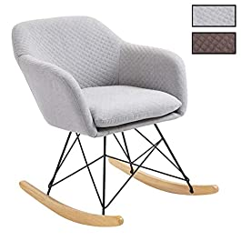 IDIMEX Fauteuil à Bascule ADELANO Rocking Chair Relax avec Coussin et accoudoirs Design scandinave Pieds en métal Noir…
