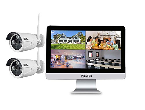 """Videoüberwachung WLAN Komplettset 4-Kanal Netzwerkrekorder mit 25,4 cm (10"""" Zoll) LCD-Bildschirm und 2 x HD Überwachungskameras"""