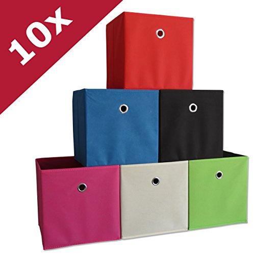 VCM 10er Set Faltbox Klappbox Sammelbox Stoffbox Regalbox Regalkorb ohne Deckel Dunkelbraun 28 x 27...