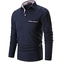 STTLZMC Mode Polo Homme Manche Longue Golf Poloshirt Casual Col Contrasté  Tops f1d1d7dce513