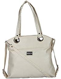 Zapatoz Women's Plain White Leatherite Handbag (PP-White-Hand-held-Beg)