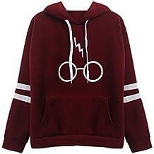 Mujeres Camisetas Manga Larga Varsity Gafas de Harry Potter Encapuchado Camisa de Entrenamiento Sudaderas con Capucha Tops Sweatshirt de Marca Abrigo Pullover Rayas Deporte