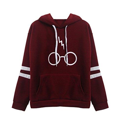 Damen Langarm rundhals Kapuzenpullover Harry Potter Blitz Gläser Druck Hoodie Tasche Sweatshirt Pullover mit Kapuzen (EU38-(M), Rotwein)