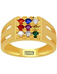 Freedom Certified Natural Navaratna (9 Stones) Panchdhatu Gold Plated Ring With Certificate For Gents & Ladies-A4