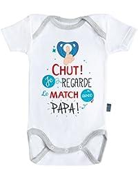 Baby Geek Chut je regarde le match avec papa V2 - Body Bébé manches courtes  - 20f89a07a18