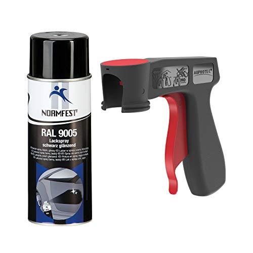 AUPROTEC Lackspray RAL 9005 schwarz glänzend Sprühlack Glanzlack Auto Lack Spray 1x 400ml + 1x Original Pistolengriff - Hochglanz Schwarz Lack