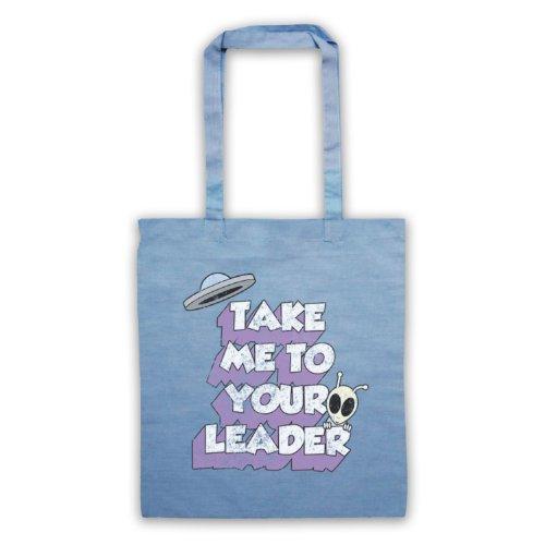 Take Me To Your Leader Funny Slogan-Borsa Sci Fi Azzurro