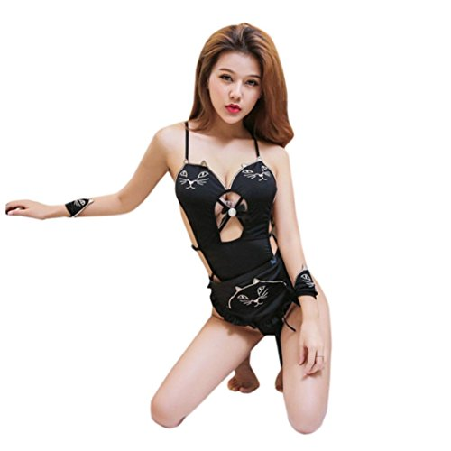 Gaddrt Women Sexy Cute Anime Cosplay Cat Tail Embroidary Tassels Lingerie Set Underwear (black)