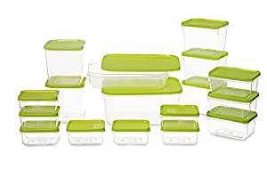 All Time Polka Plastic Container Set, 6.5 Litre, Set of 17, Green