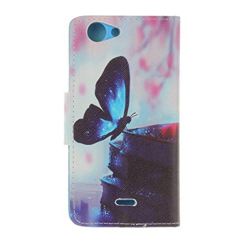 iphone SE 5 5S 5G Cover,Flip Cover Portafoglio Guscio Protettiva Custodia in Pelle per iphone SE 5 5S 5G Wallet Case Casi Caso Con carte di credito slot,Cozy Hut Elegante borsa Custodia in Pelle Prote blue Butterfly