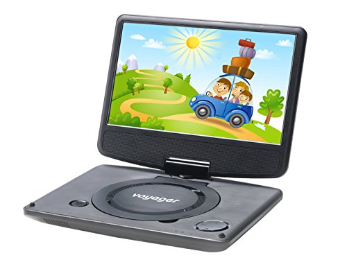 Voyager VYCDVD9-BLK 9 inch Swivel Screen Portable DVD Player with Internal Battery - Black