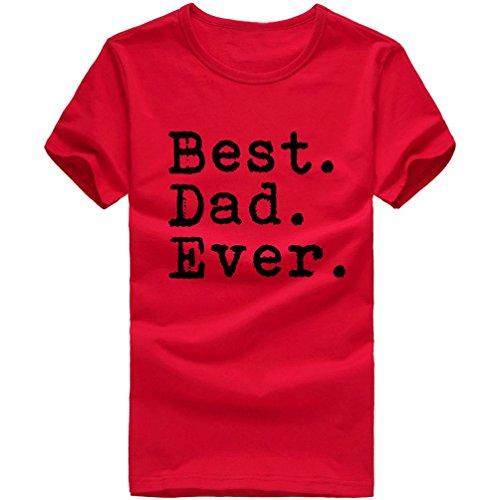 ❤️Tops Blouse Homme T-shirt,Amlaiworld Lettre d'Impression T-shirt T-shirt en Coton Manches Courtes Vêtements (L, Rouge)