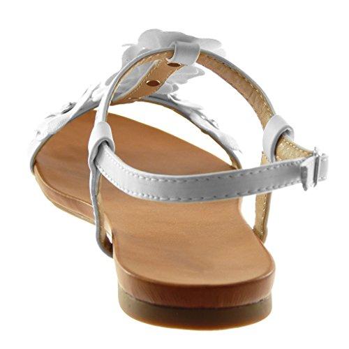 Angkorly Chaussure Mode Sandale Salomés Lanière Cheville Femme Fleurs Strass Diamant Clouté Talon Bloc 1.5 cm Blanc