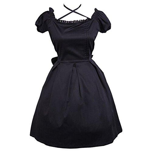 Partiss Damen Retro Gothic Bogen Lace Victorian Lolita Dress Partykleider,XS,Black (Brautkleid Lace Victorian)