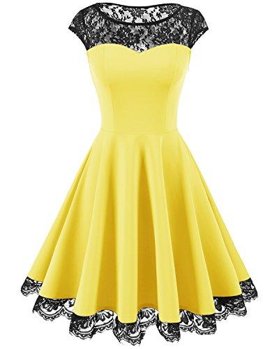 Homrain Damen 1950er Elegant Spitzenkleid Rundhals Knielang Festlich Cocktail Abendkleid Yellow M (70 Fashion Kleid)