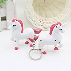 Idea Regalo - Kicode 1 pc Incandescenza luminosa del LED Unicorno bianco Appeso a cavallo pony Portachiavi ciondolo Decorazione portachiavi