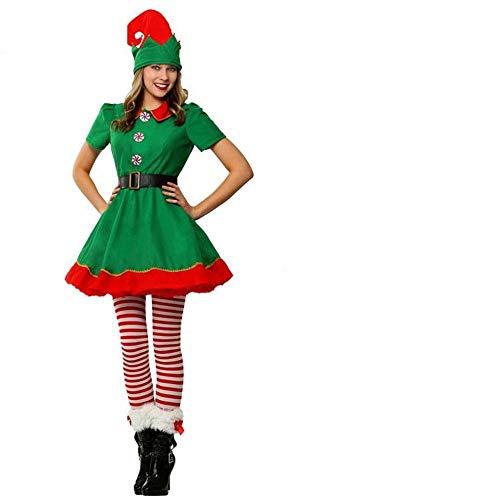 CN Cosplay Weihnachten Halloween Bühnenshow Kinder Erwachsene Mädchen Weihnachten Elf Dress Up (Weihnachten Elf Erwachsenen Kostüme)