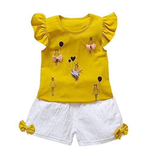 Baby Mädchen Kurzarm Tops + Gummiband Shorts Outfits Set Alwayswin Kinder 3D Cartoon Niedlich zweiteilig Sommer Freizeit Baby-Outfits Mode Wild Baumwolle Babykleidung