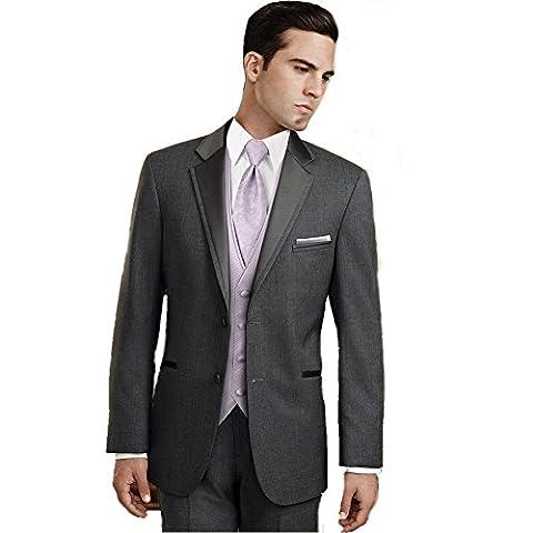 MYS Men's Custom Made Bridegroom Steel Grey Wedding Tuxedo Suit Pants Vest Tie Set Tailored