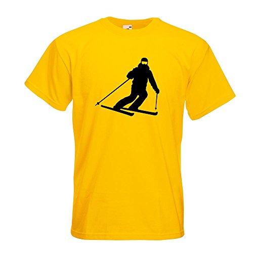 KIWISTAR - Skifahrer Skiläufer Langlauf T-Shirt in 15 verschiedenen Farben - Herren Funshirt bedruckt Design Sprüche Spruch Motive Oberteil Baumwolle Print Größe S M L XL XXL Gelb