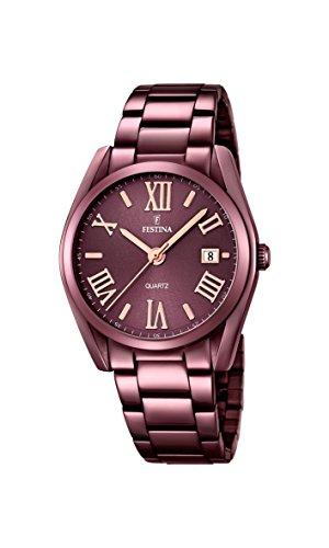 Festina F16865/1 - Reloj de Pulsera Mujer, Acero Inoxidable, Color Marrón