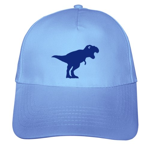 Dinosaurier T-Rex Kinder Kappe Tyrannosaurus Rex Beechfield Junior Original 5 Panel Cap OneSize Nr.3: hellblau/königsblau