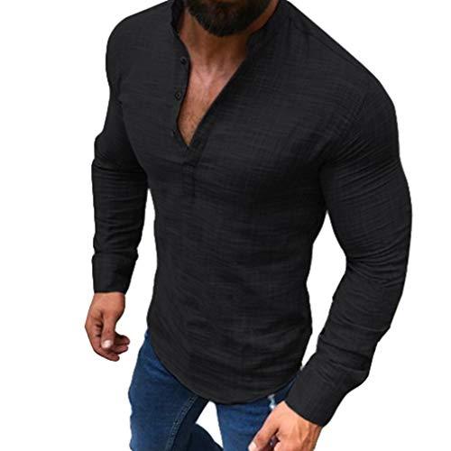 Camisa Manga Larga Cuello Redondo Dobladillo Redondo Slim Hombres Primavera Otoño Algodón Lino Transpirable Camisa Color Sólido Collar Pie