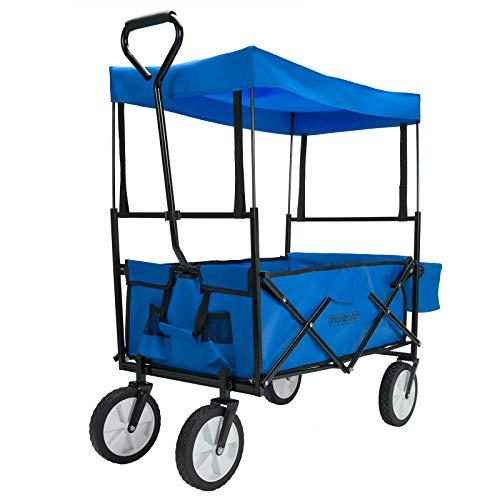 Deuba Chariot de Transport Bleu Jardin Pliable avec Toit Amovible 4 Roues Tubes d'acier Chariot a Main charrette Sorties Famille Courses