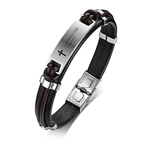 PJ JEWELRY Liebe versagt Nie 1 KOR 13: 8 Inspirierende Christian Bibe Vers Armband, religiöses Geschenk