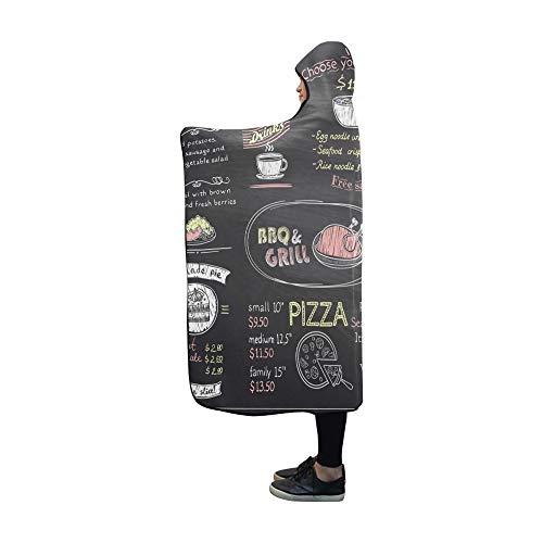 JOCHUAN Mit Kapuze Decke Kreide Menüliste Blackboard Design Cafe Decke 60 x 50 Zoll Comfotable Hooded Throw Wrap -