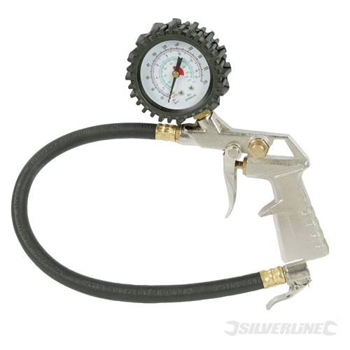Air Tyre Inflator, 400mm, Suitable for motor vehicles, cycles, dinghies and most inflatables. Dial reads 0-15Bar, 0-220psi and 0-1500kPa. Includes 1/4 bayonet quick connect. Hose length 400mm. by TK9K (Dinghy-hosen)