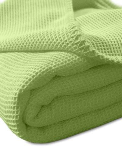 Kneer Waffelpique Decke Baumwolle Grün 150 cm x 210 cm