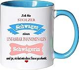 Mister Merchandise Becher Tasse Stolzer Schwager Einer unfassbar phänomenalen Schwägerin Kaffee Kaffeetasse liebevoll Bedruckt Traumhaft Wahnsinnig fantatsisch Weiß-Hellblau