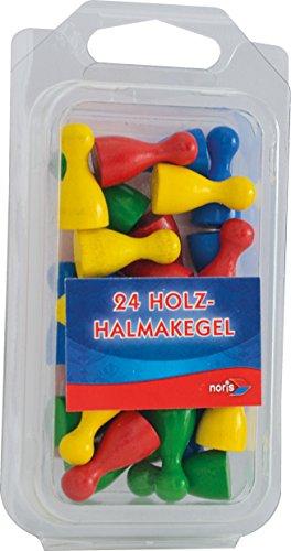 Noris Spiele 606154362 - 24 bunte Holzhalmakegel
