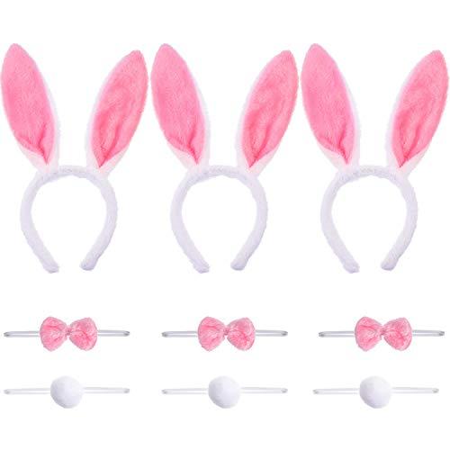 3 Sets Häschenohren Stirnbänder Schwänze und Fliege für Ostern Kostüm Requisiten Zubehör (Farbe Satz 1)