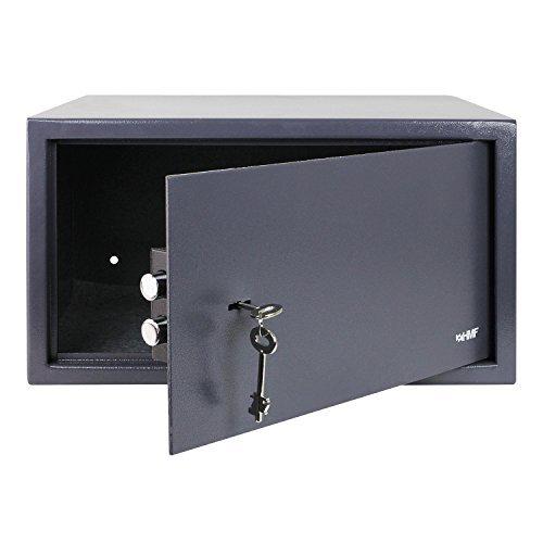 HMF 49204-11 Tresor passend für Laptop und Ordner, Möbeltresor Doppelbartschloss, 45,0 x 25,0 x 36,5 cm , anthrazit (Laptop-safe)