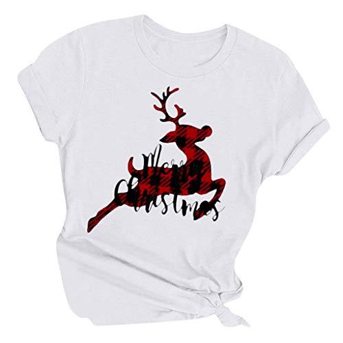 LOPILY Weihnachtspullover Damen Karierte Weihnachtsshirts mit Hirschmuster Casual Tshirts Große Größen mit Weihnachtsbuchstaben Xmas Pullover Weihnachtsshirt Lustig für Weihnachtsabend (Weiß, M)