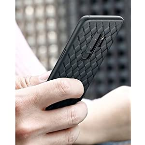 Amozo Smooth Shockproof with Side Protection Cover for Samsung Galaxy S9(Black - Weave Case)