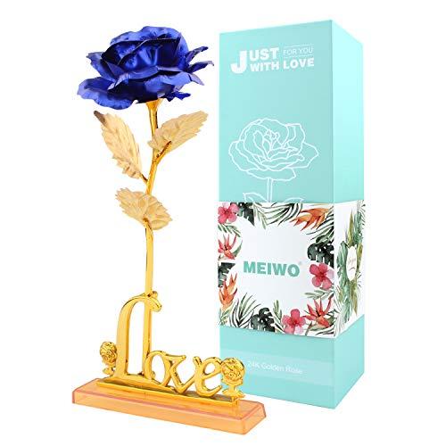 24K Gold Rose, Meiwo langen Stamm Gold Rose mit Liebesbrief Display Stand, perfekte Geschenke zum Geburtstag, Valentinstag, Muttertag, Hochzeitstag Wohnkultur(Blau)