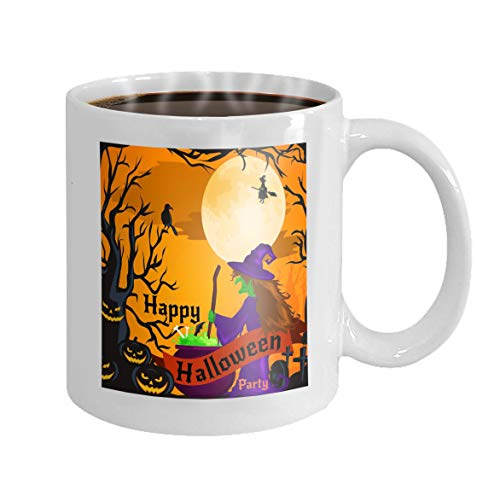 11 oz Coffee Mug A Buyer Ceramic Cup Gift for Buyers halloween horror forest woods spooky tree pumpkins cemetery design autumn valley spider web space Prints