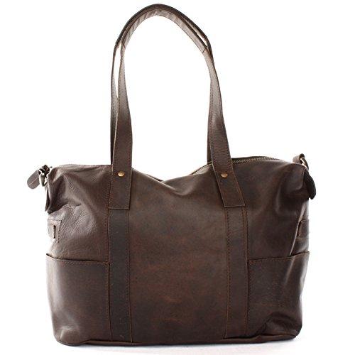 2ddfab73f05e73 ... LECONI Shopper Vintage-Look Damen Henkeltasche Schultertasche Echt-Leder  Natur Damentasche Ledertasche Umhängetasche Handtasche ...