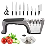 Manual Knife Sharpeners, Professional 4-in-1 Knives and Scissor Sharpener, Best Kitchen Sharpening Tool