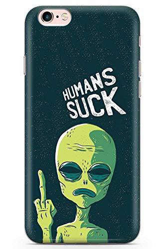 iPhone 6, iPhone 6s Case Menschen Saugen Alien | Transparente ultradünne leichte TPU-Schutzhülle aus Gel-Silikon | Grün UFO Platz Finger Beleidigen
