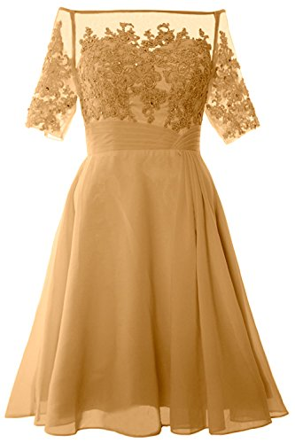 MACloth Women Off Shoulder Mother of Bride Dress with Sleeve Midi Cocktail Dress gold