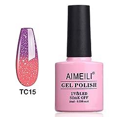 Idea Regalo - AIMEILI Smalto Semipermente per Unghie in Gel UV LED Smalti per Unghie Colori per Manicure che Cambia Colore con la Temperatura - New Glitter Purple To Pink (TC15) 10ml