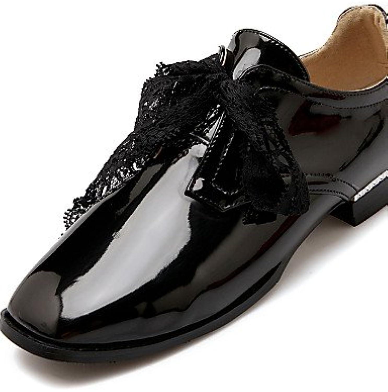 NJX/ hug Zapatos de mujer-Tacón Plano-Tacones / Punta Cuadrada-Tacones-Casual-Cuero Patentado-Negro / Azul / Rojo...